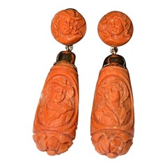 Antique Gold Carved Cameo Corallium Rubrum Earrings