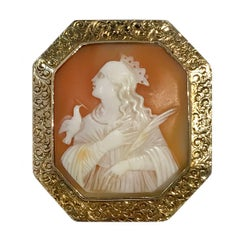 Antique Carved Shell Cameo Brooch Pendant
