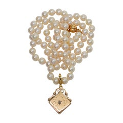 Antique Gold Charm Locket Pendant Enhancer with Diamond Accent Pearl Necklace