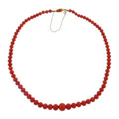 Antique Gold Coral Bead Necklace