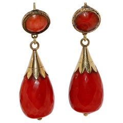 Antique, Gold Coral Stud Earrings, in Faceted Drop-Cut