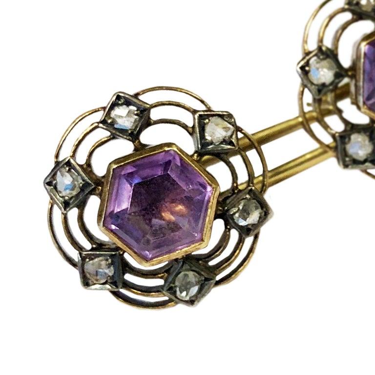 Edwardian Antique Gold Diamond and Amethyst Cufflinks