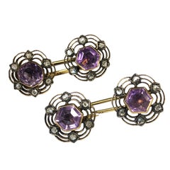 Antique Gold Diamond and Amethyst Cufflinks