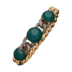 Antique Gold Diamond and Green Agate Bracelet