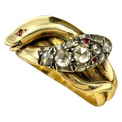 Antique Gold Diamond and Ruby Double Coiled Snake Ring, 19th Century