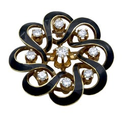 Antique Gold Diamond and Enamel Brooch/Pendant