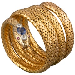 Antique Gold Diamonds and Sapphire French Snake Bracelet