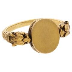 Antique Gold Double Lion Head Signet Ring, Circa 1880