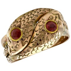 Antique Gold Double Serpent Ring