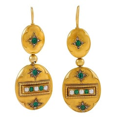 Antique Gold Drop Earrings with Emeralds, Diamonds and Pearls
