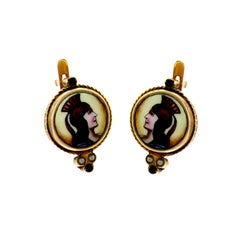Antique Gold Earrings with Enamel Miniatures