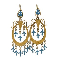Antique Gold Earrings with Enameling