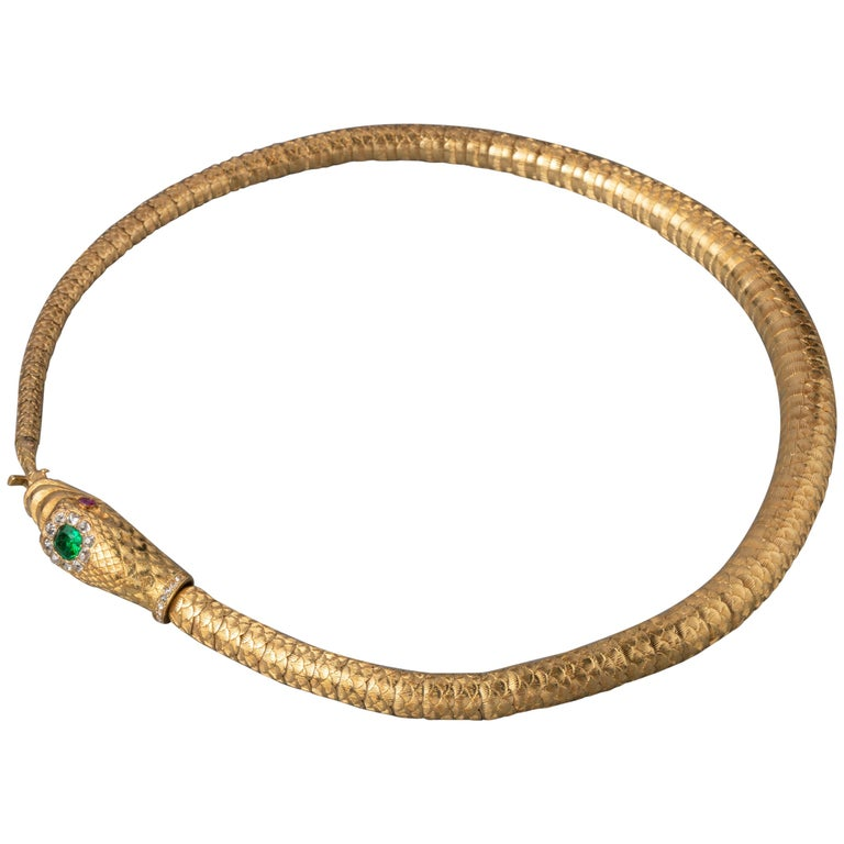 Antique Gold Emerald and Diamonds Snake Necklace For Sale
