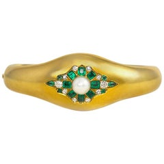Antique Gold, Emerald, Diamond and Pearl Bangle