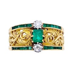 Antique Gold Emerald Diamond Ring
