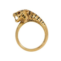 Antique Gold, Enamel, and Ruby Tiger Head Ring with English Hallmarks