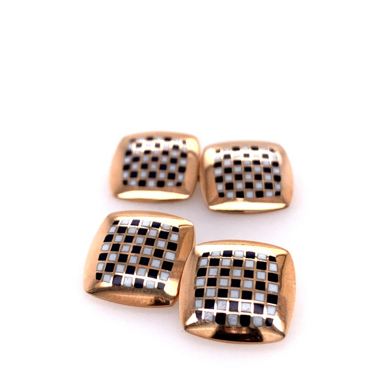 Antique Gold and Enamel Cufflinks In Excellent Condition For Sale In New York, NY