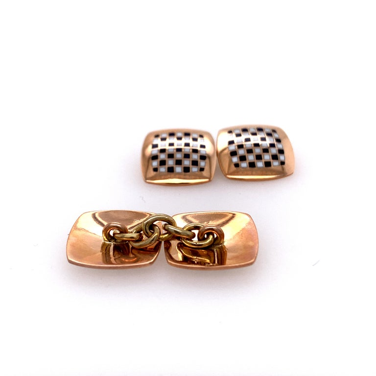 Women's or Men's Antique Gold and Enamel Cufflinks For Sale