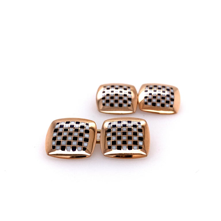 Antique Gold and Enamel Cufflinks For Sale 1
