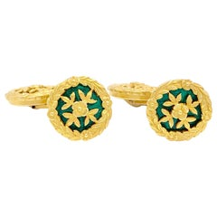 Antique Gold Enamel Cufflinks
