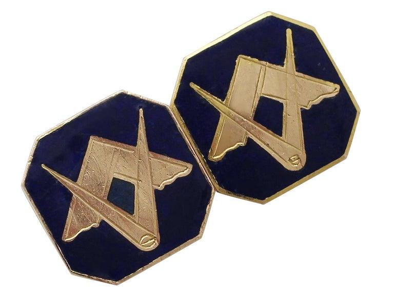 Antique Gold Enamel Freemasons' 'Square and Compass' Cufflinks