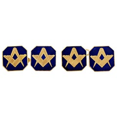 Antique Gold Enamel Freemasons Square and Compass Cufflinks