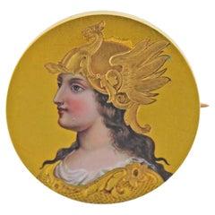 Antique Gold Enamel Hand Painted Miniature Portrait Brooch