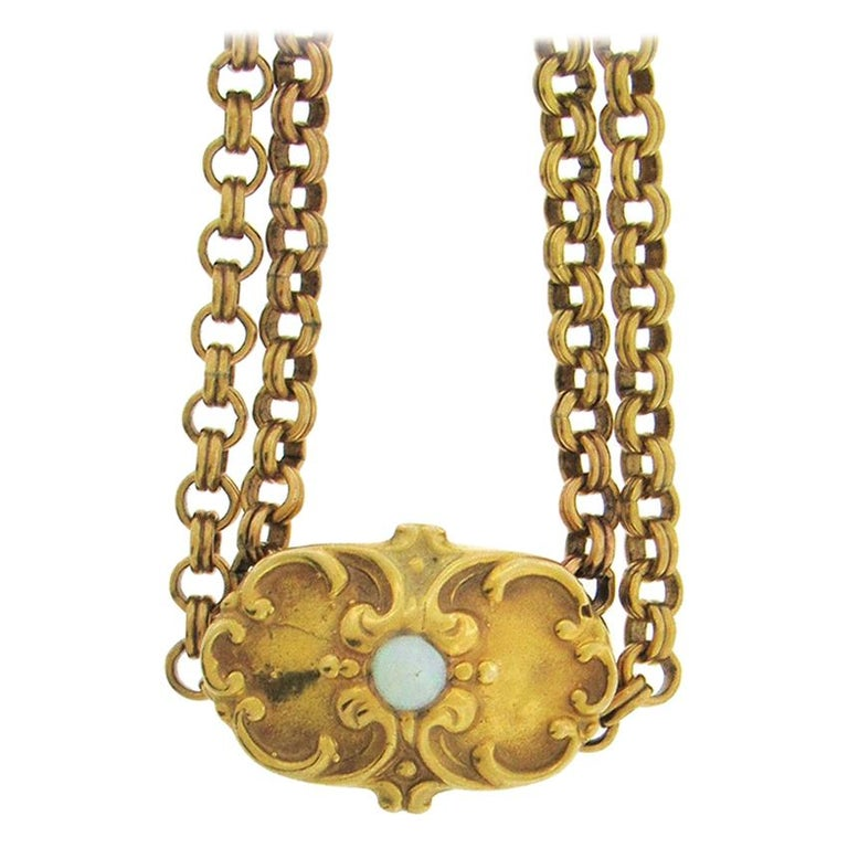 Antique Gold-Fill Long Chain with 14 Karat Slide For Sale