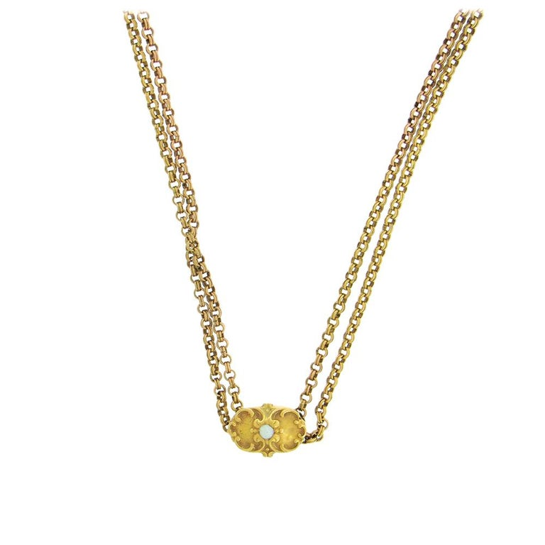 Antique Gold-Fill Long Chain with 14 Karat Slide In Good Condition For Sale In New York, NY