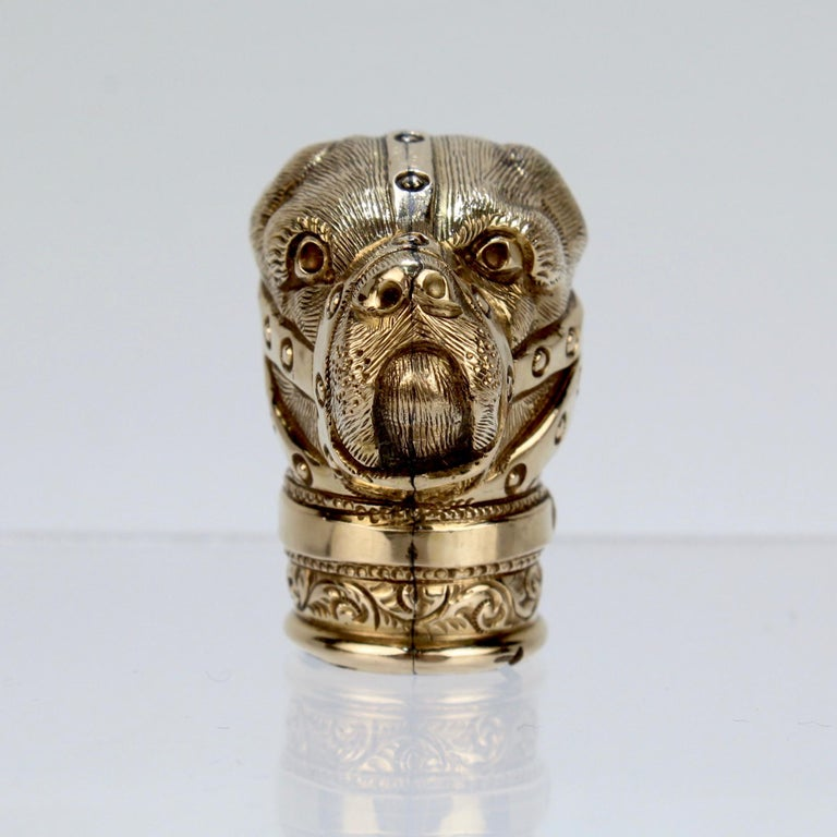 Antique Gold Filled Baiting Bear with Muzzle Cane Top or Walking Stick Handle For Sale 3