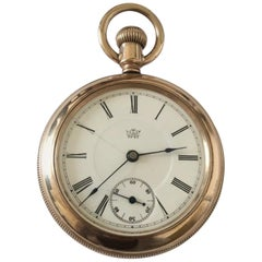 Antique Gold Filled Duplex Pocket Watch by Charles Benedict Waterbury Watch Co