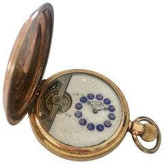 Antique Gold Filled Full Hunter Hebdomas Swiss Made Pocket Watch