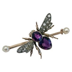 Antique Gold Fly Bee Brooch English circa 1900 Suffragette