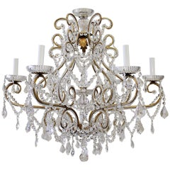 Antique Gold French Beaded Crystal Chandelier with Six-Light