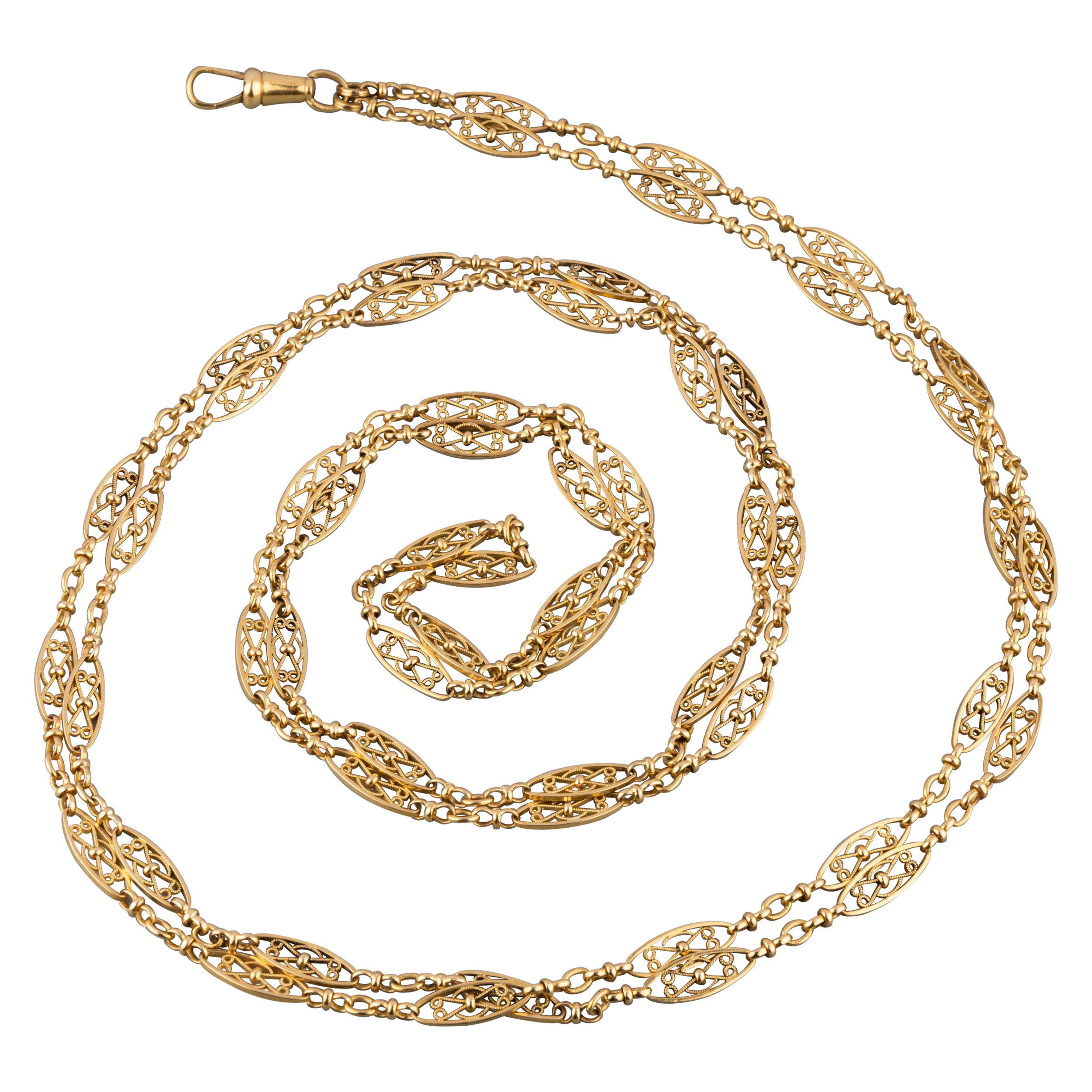 Antique Gold French Long Chain