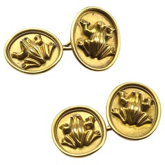 Antique Gold Frog Cufflinks