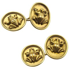 Antique Gold Frog Cufflinks