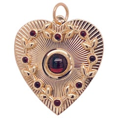 Antique Gold Garnet Heart Drop
