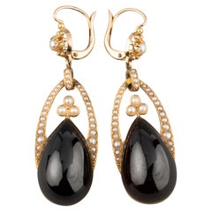 Antique Gold Garnets and Pearls Earrings
