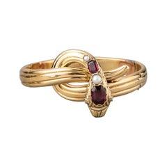 Antique Gold Garnets and Pearls French Snake Bracelet