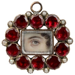 Antique Gold Georgian Lover's Eye Necklace Pendant with Garnet and Pearls