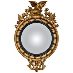 Antique Gold Giltwood Convex Mirror with Winged Dragon