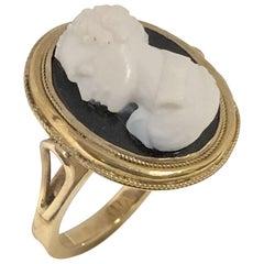 Antique Gold Hard Stone Intaglio Cameo Ring