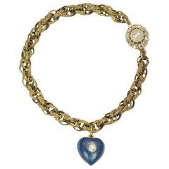 Antique Gold Heart Charm Bracelet