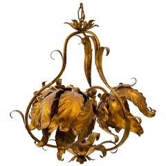Antique Gold Leaf Chandelier, Italy, 1950s
