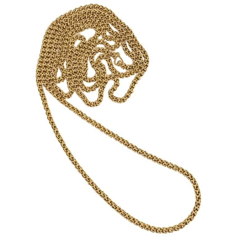 Gold Fancy Link Long Chain Necklace