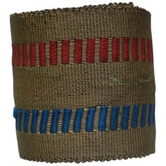 Antique Gold Metallic Threads Decorative Trim with Red and Blue Details