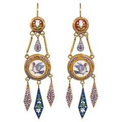 Antique Gold Micromosaic Girandole Style Earrings, Vatican Workshop