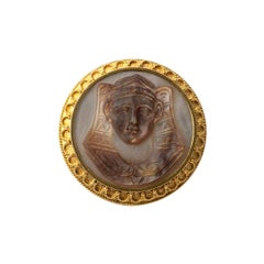 Antique Gold and Mother of Pearl Egyptian Revival Pharaoh Brooch, circa 1930s