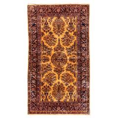 Antique Gold Navy Persian Manchester Wool Kashan Rug, circa 1880-1900